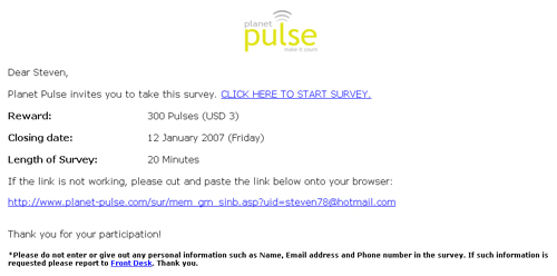 Sample of survey