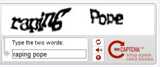 Funny Captcha - Raping Pope?