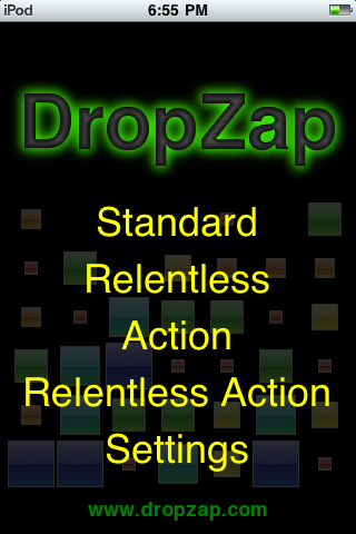 DropZap Menu Screen