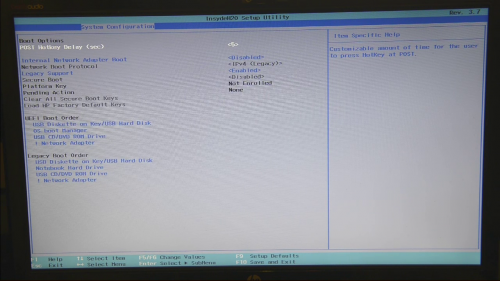 Bios Screen